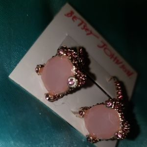 Betsey Johnson Pink Diamond and Stone earrings